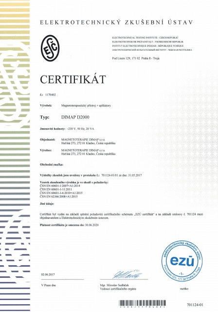 certifikát DIMAP D2000 cz