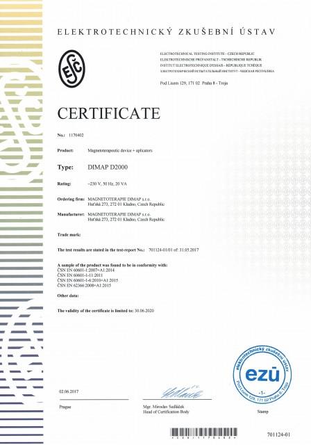 certifikát DIMAP D2000 eng