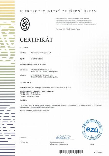 Certifikát INDAP Insuf CZ